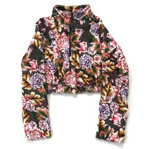 UO Fleece Pullover Floral Crop Sweater XS :250